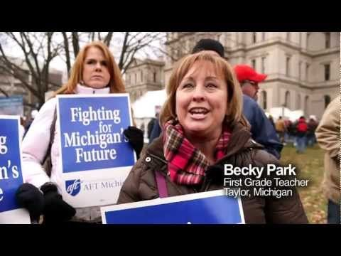 "Unions Protest ""Right to Work"" in Michigan"